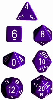 Dice - Opaque: Poly Set Purple With White (Set of 7) by Chessex Manufacturing