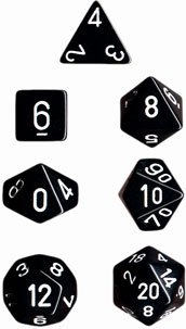Dice - Opaque: Poly Set Black With White (Set of 7) by Chessex Manufacturing