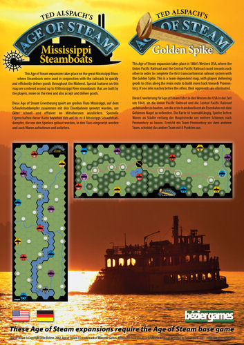 Age of Steam Expansion - Mississippi Steamboats / Golden Spike by Bezier Games