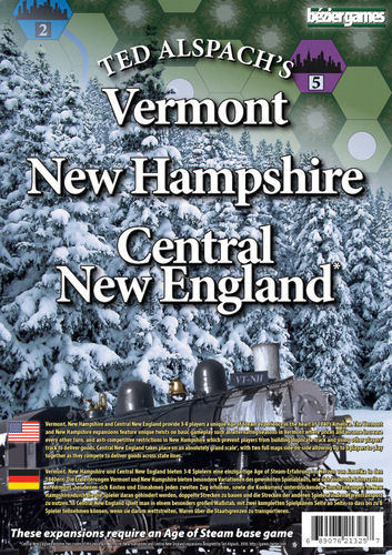 Age of Steam Expansion - New Hampshire, Vermont, & Central New England Expansion by Bezier Games
