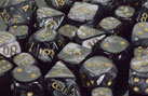 Dice - Lustrous: 16mm D6 Black with Gold (Set of 12) by Chessex Manufacturing
