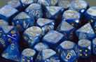 Dice - Lustrous: 12mm D6 Blue with Gold (Set of 36) by Chessex Manufacturing