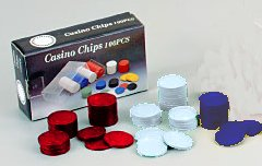 Clay Poker Chips - Red/White/Blue 8 gram - Box of 100 by Fame (U.S.A.) Products, Inc.