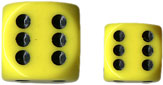 Dice - Opaque: 16mm D6 Yellow with Black (Set of 12) by Chessex Manufacturing