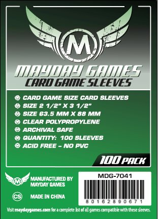 Card Sleeves - 63.5 x 88mm Clear Sleeves (100) by Mayday Games