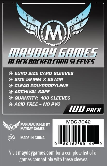 Euro Card Sleeve - Black Backed (Pack of 100) - 59 MM X 92 MM by Mayday Games