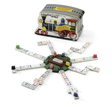 Mexican Train Dominoes in a Tin by Fundex Games