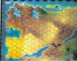Warangel Accessory - Hexed Map of 1st Generation - Felinians {Felini} (Kenia) by Angelo Porazzi Games